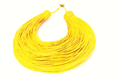 Yellow African leather layered necklace