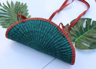 Fan shaped green straw bag