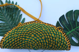 Fan shaped green and yellow straw bag