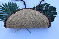 Fan shaped straw bag