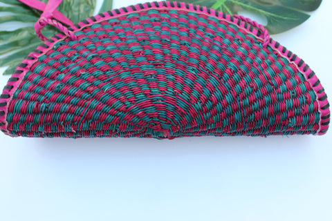 Fan shaped pink and green straw bag