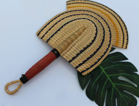 Blue and yellow beautiful handwoven and decorative Bolga fan, hand fan, African fan, Ghanaian fan