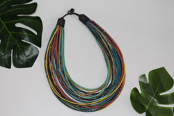 Multi-coloured statement necklace made from recycled Flip-Flops