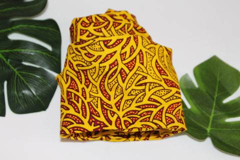 African print wired head wrap / head tie / Headband - Yellow mixed print
