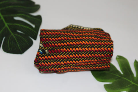 African print wired head wrap / head tie / Headband - Brown mixed print
