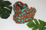 African print wired head wrap / head tie / Headband - Green and orange mixed print