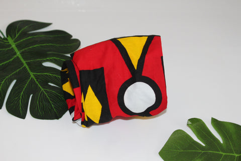 African print wired head wrap / head tie / Headband - Red and yellow mixed print