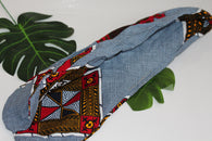 African print wired head wrap / head tie / Headband - Blue and red mixed print