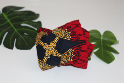 African print wired head wrap / head tie / Headband - Red and blue mix print