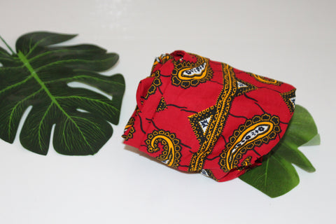 African print wired head wrap / head tie / Headband - Red and yellow