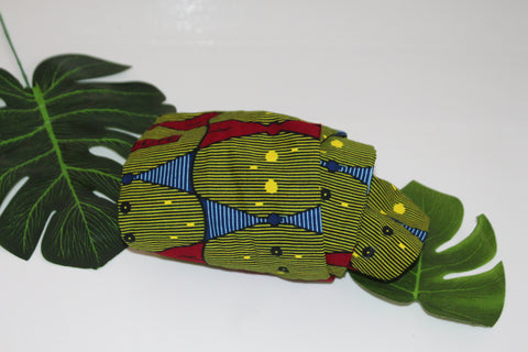African print wired head wrap / head tie / Headband - Green and red