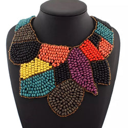 Multi coloured bead bib style statement necklace