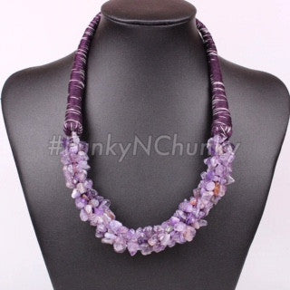 Amethyst stone necklace - purple