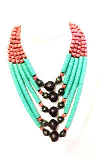 Handmade African flatbead statement necklace
