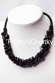 Black coral style statement necklace