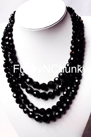 Black bead multi-layer necklace