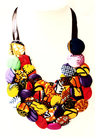 Button Bib Necklace - African print