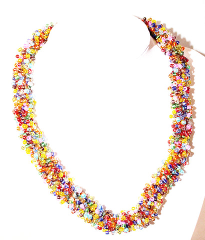 Multi coloured statement bead necklace