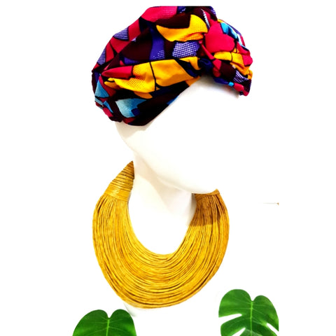 Pink, brown and yellow multi-colour African print turban style headband
