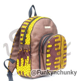 Leather and African print mini backpack - brown metallic