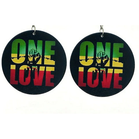 One Love - wooden earrings