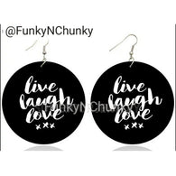 Live Laugh Love - Wooden Earrings