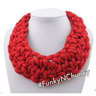 Red chunky twisted rope statement choker necklace