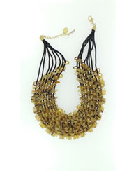 Honeycomb style necklace - Light brown bead detail