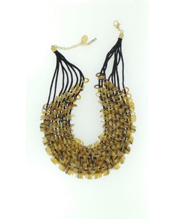 Rope and bead rope necklace - Light brown bead detail