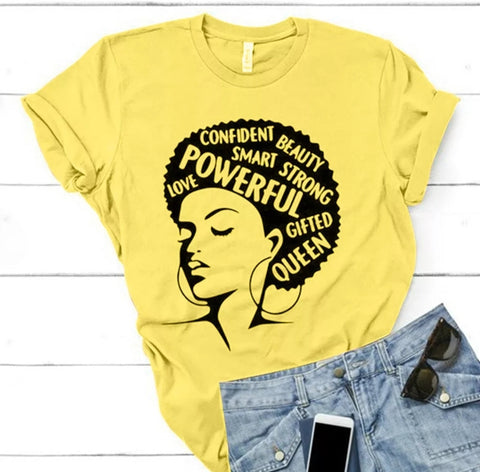 Confident, Powerful, Smart, Beautiful- T-shirt in yellow Large