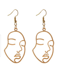 Abstract Hollow Out Face Statement Earrings