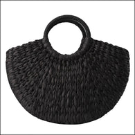 Handbag Rattan Wicker Straw Woven Half-round Bag