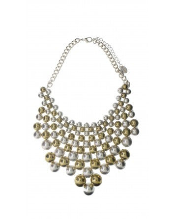Silver and gold ball statement necklace