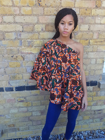 Long African print cape - top - off shoulder