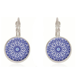 henna glass cabochon earrings