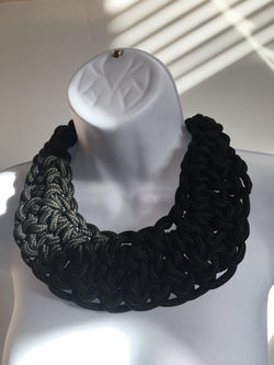 Black twisted rope statement necklace