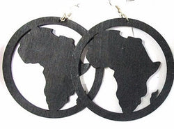 Large 8cm Wooden Africa earrings - Black