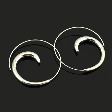 Thick spiral silver earrings