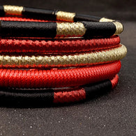 Red and gold rope choker statement necklace