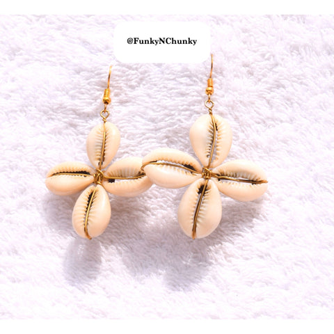 Handmade cowrie bead and brass earrings