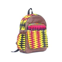 Leather and African print backpack - brown