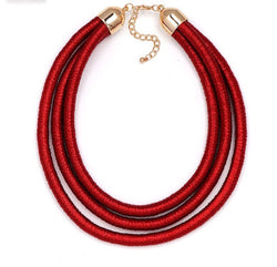 Red rope statement necklace