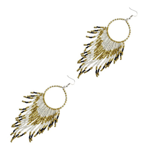 White - bohemian beads long big statement earrings