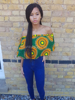 African print cape - top - off shoulder