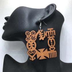 Adinkra Symbol Wood Earrings - Coffee coloured