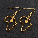 Gold - Africa shaped earrings