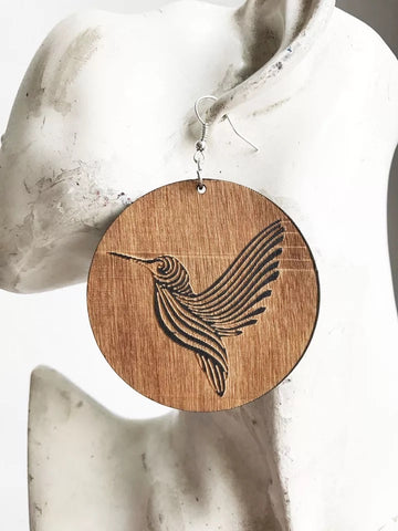 Hummingbird - wooden drop earrings
