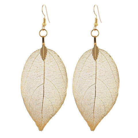 Gold Leaf Earrings - Natural Leaf