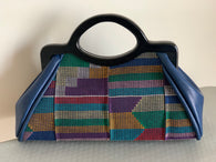 Mud cloth and leather Handbag