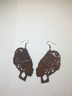 Wooden Head Wrap Earrings - Black